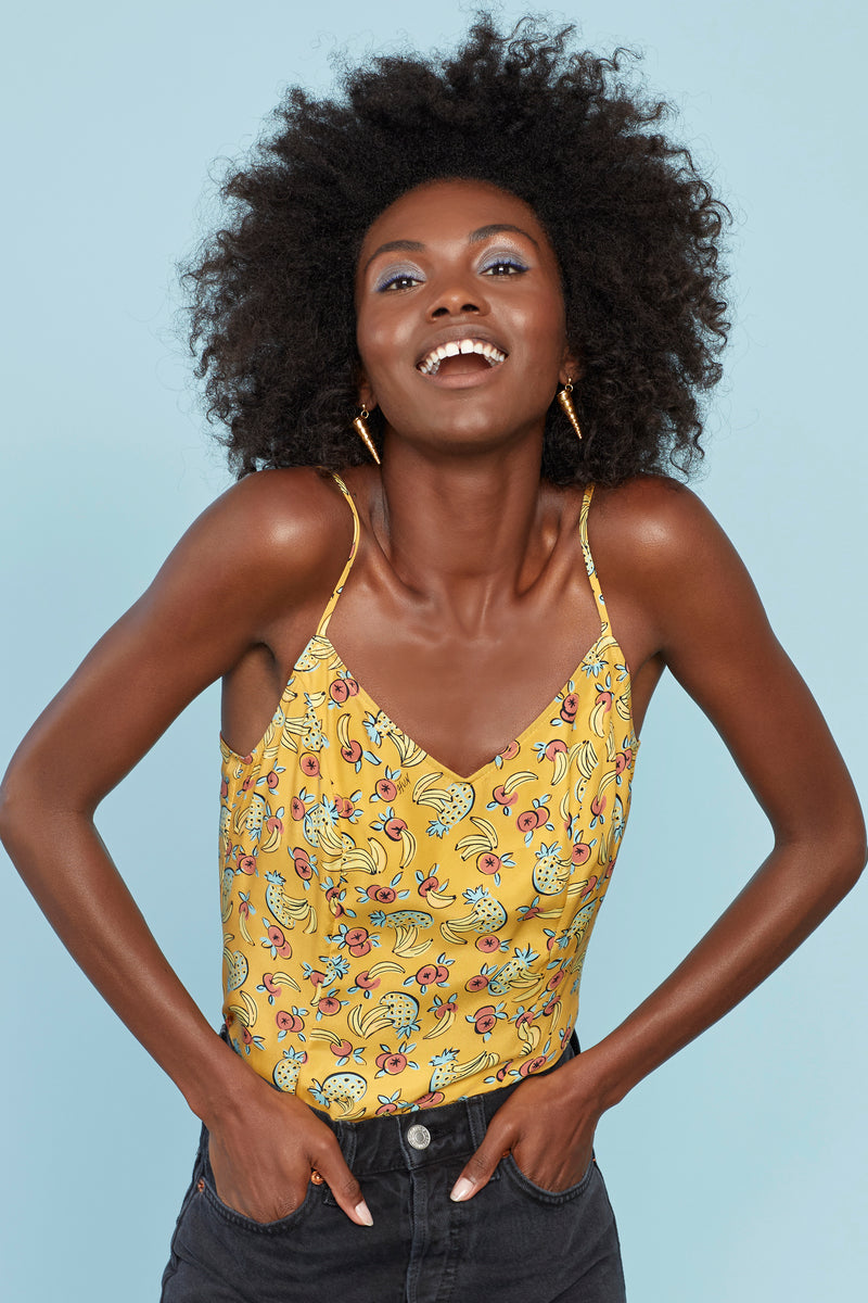 Yellow Tropical Fruit Leigh Strappy Camisole