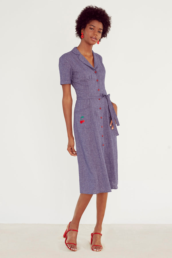 Denim Linen Maria W. Cherry Embroidery