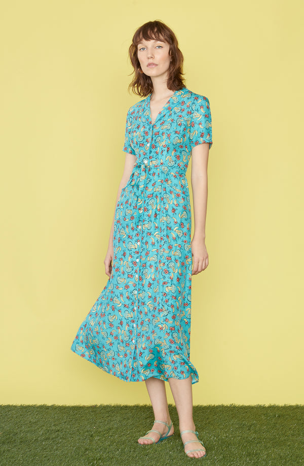 Turquoise Tropical Fruit Long Maria Dress