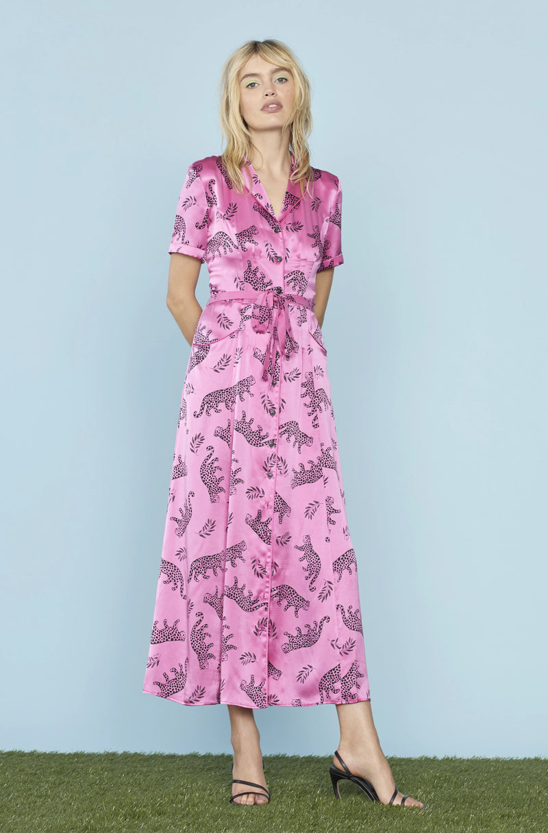 Pink Shiny Tarzan Leopard Long Maria Dress