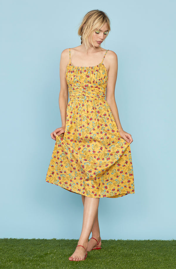 Yellow Tropical Fruit Lucy Strappy Cotton Ruched Dress