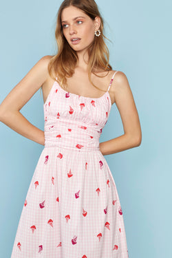 Gingham Ice Cream Lucy Strappy Cotton Ruched Dress