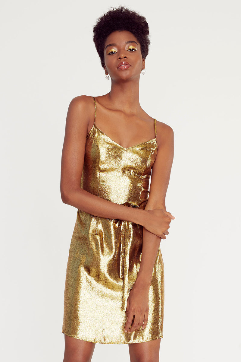 Metallic Gold Mini Lily Slip Dress