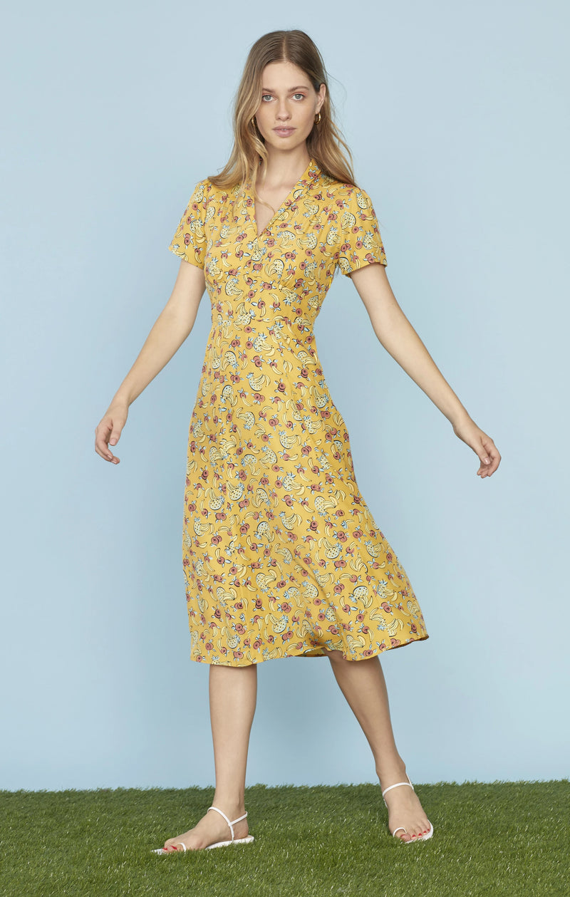 Yellow Tropical Fruit Morgan Dress