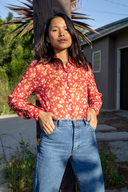 Red Wildflower Silk Chiffon Cristina Blouse