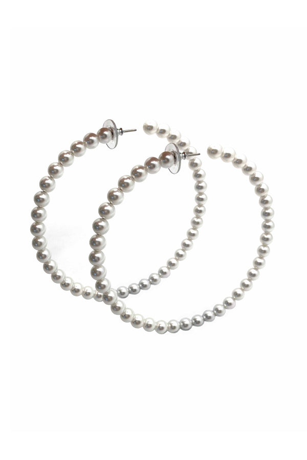 Neptune Large Pearl Hoop Earrings
