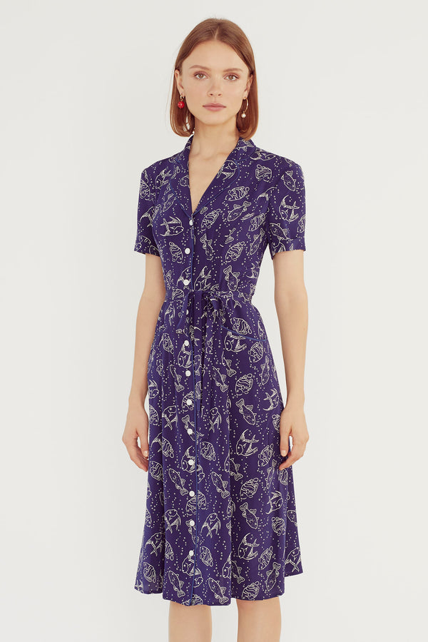 Navy Fish Maria Dress