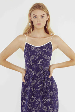 Navy Fish Susan Round Neck Slip Dress