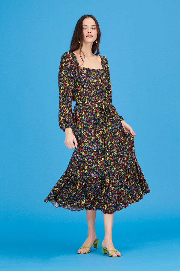 Neon Floral Eva Square Neck Button Down Dress