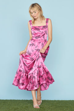 Pink Shiny Leopard Silk Olympia Sleeveless Dress