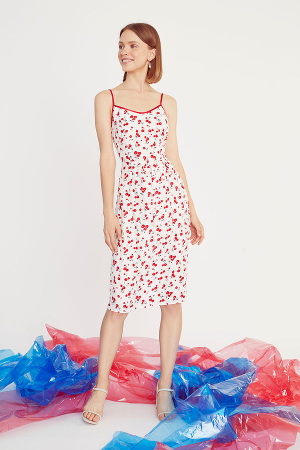 Cherry Susan Round Neck Slip Dress