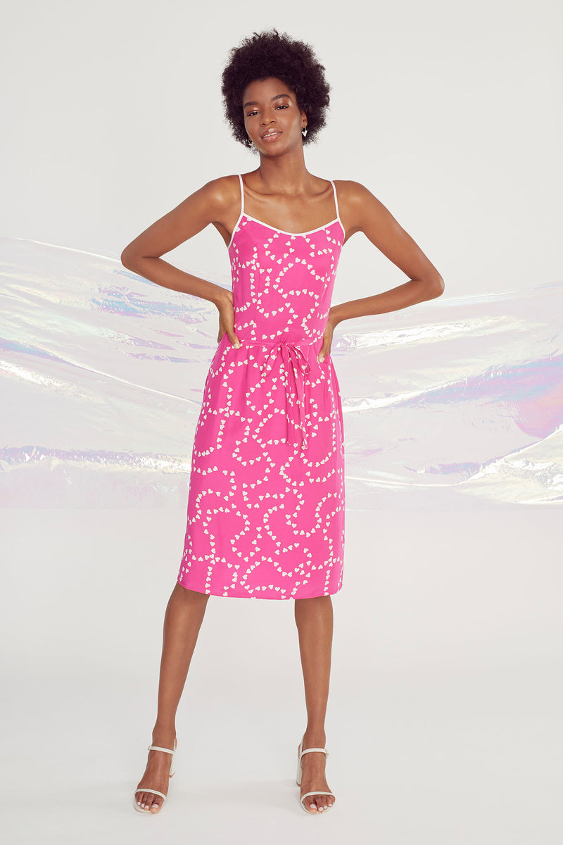 Hot Pink String of Hearts Susan Round Neck Slip Dress