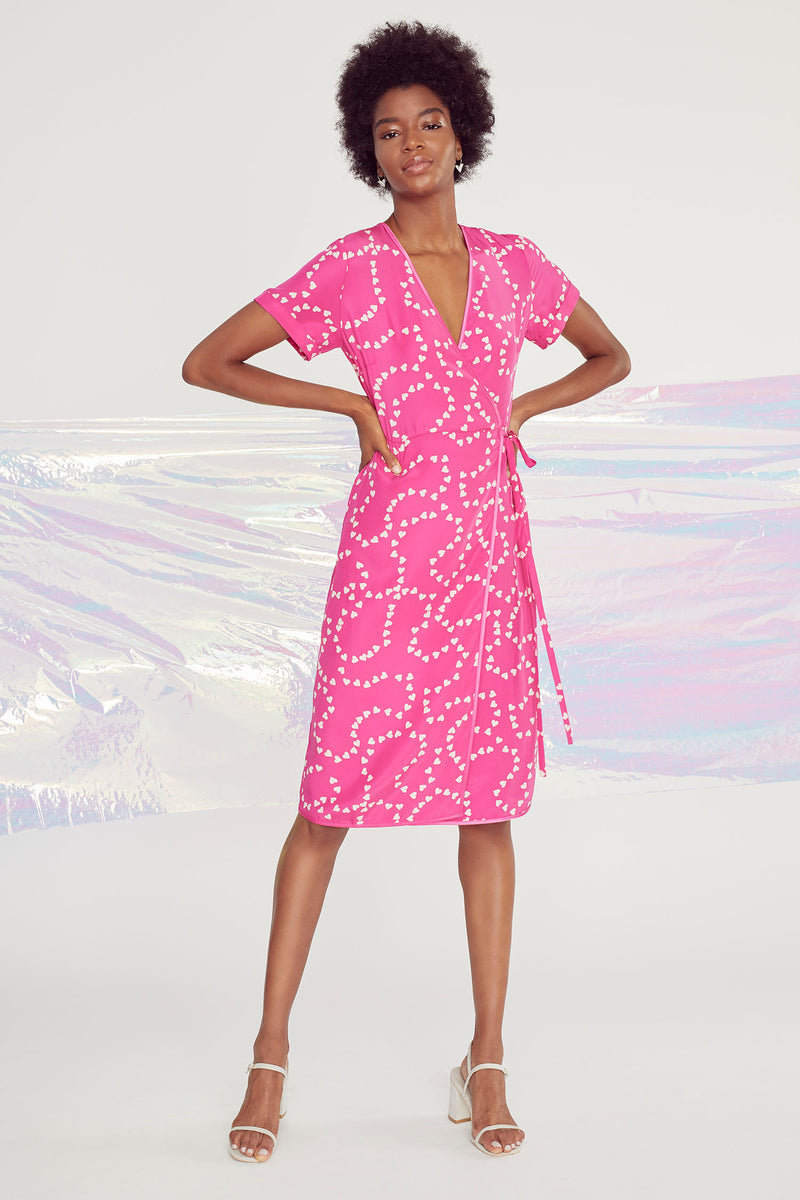 Hot Pink String of Hearts Vera Wrap Dress