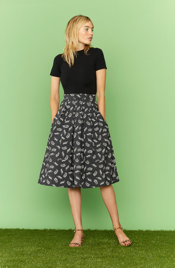 Leopard Hope Cotton Pleated Skirt