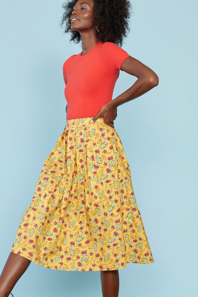 Yellow Tropical Fruit Hope Cotton Pleated Skirt