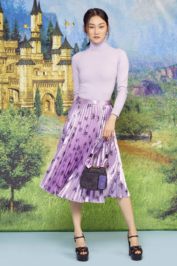 Metallic Pink Butterfly Tracy Pleated Skirt