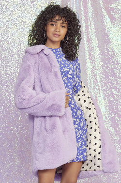 Purple Courtney Faux Fur Coat