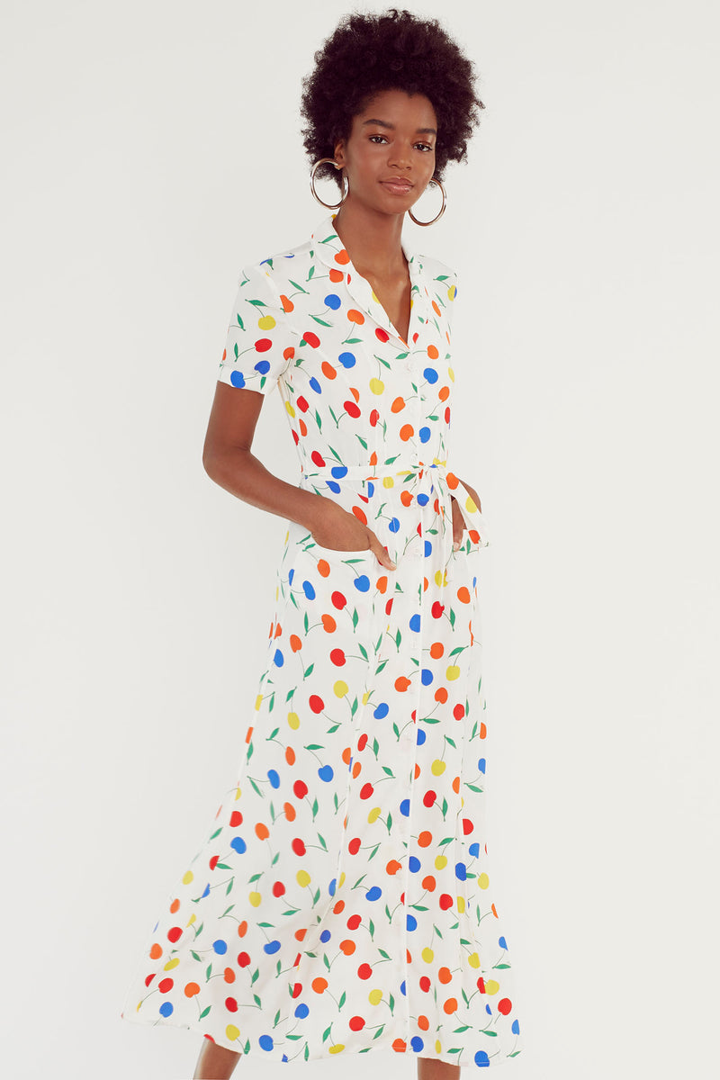 Rainbow Cherry Long Maria Dress