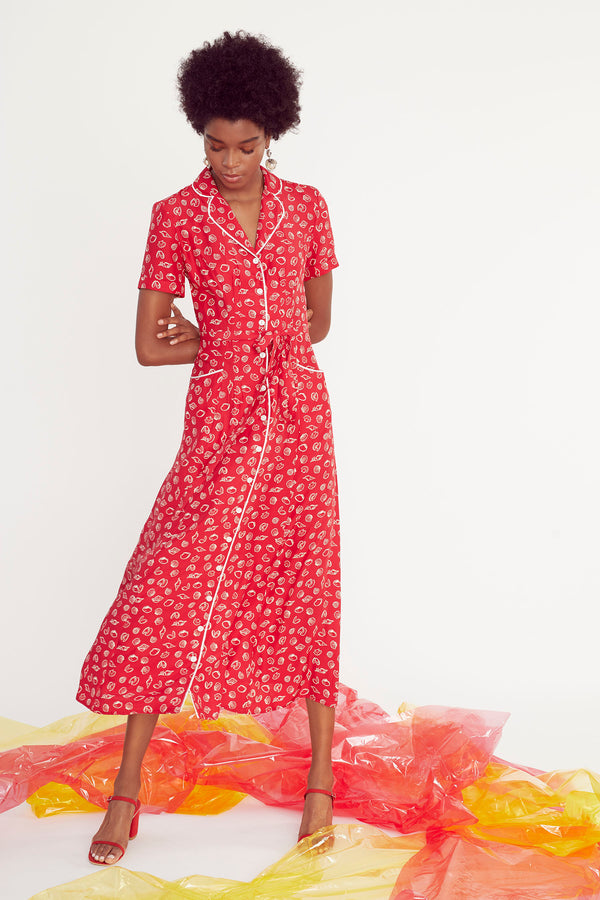 Red Shell Long Maria Dress
