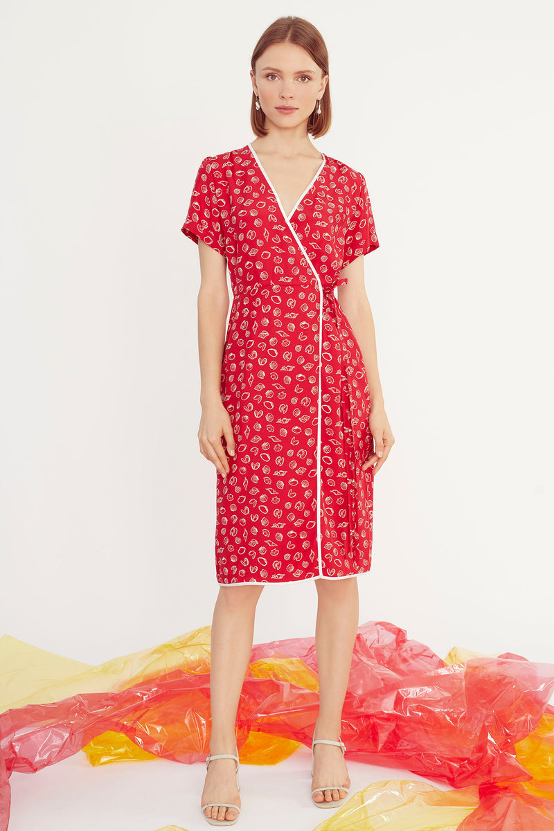Red Shell Vera Wrap Dress