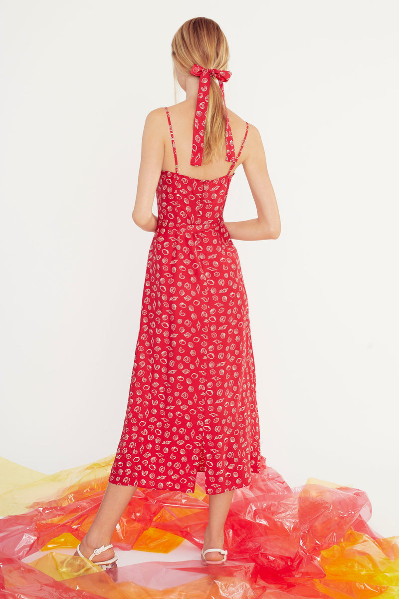 Red Shell Josephine Long Slip Dress