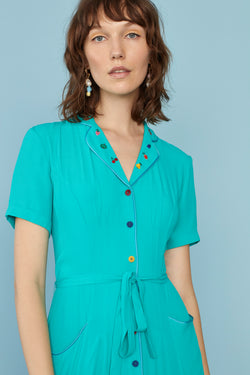 Turquoise Fruit Embroidery Maria Dress