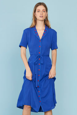 Blue Heart Embroidery Maria Dress