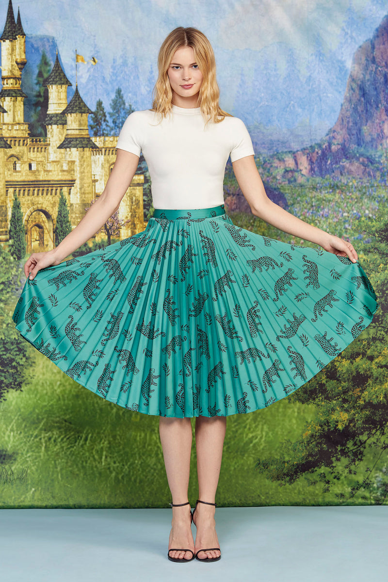 Green Shiny Tarzan Leopard Tracy Pleated Skirt