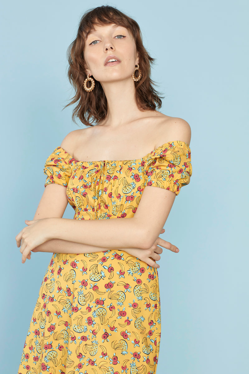 Yellow Tropical Fruit Holland Bow Tie Cotton Dress