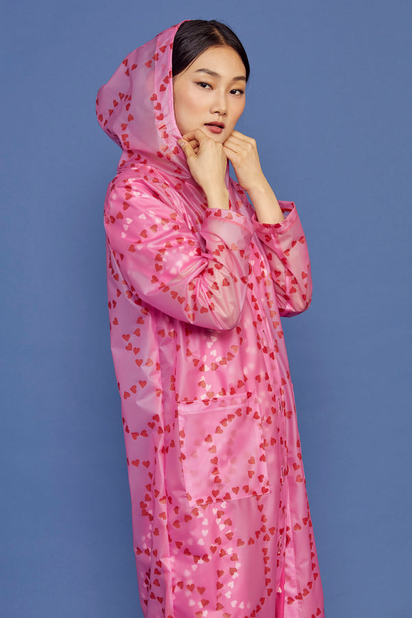 Hot Pink String of Hearts Jack Hooded Rain Coat