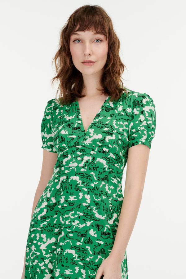 Green Montana Paula Deep V Neck Dress