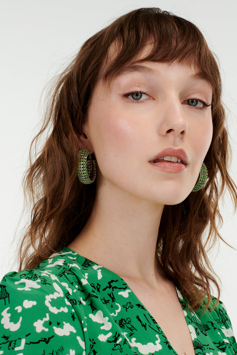 Green Jupiter Crystal Earrings