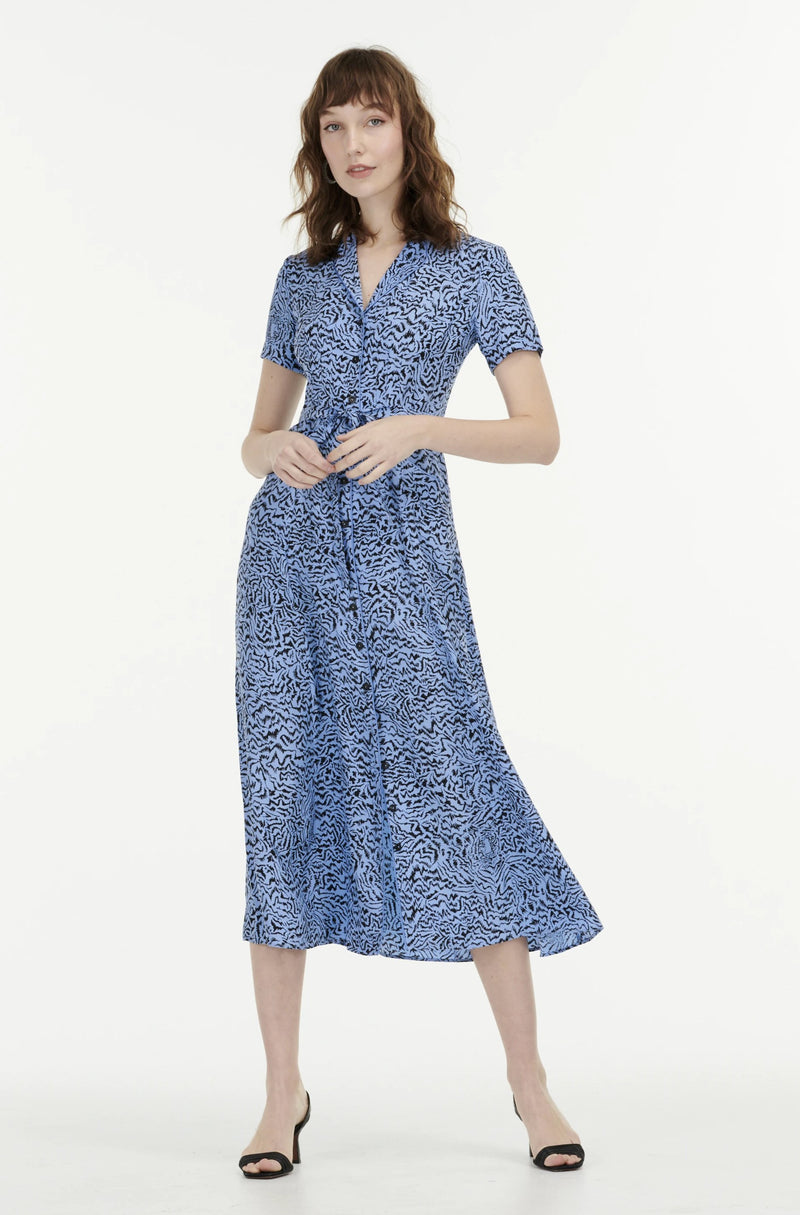 Blue Tiger Long Maria Dress