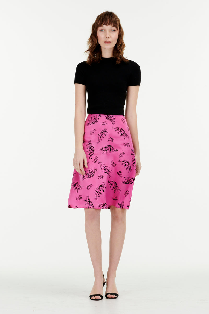 Hot Pink Shiny Leopard Wiona Slip Skirt