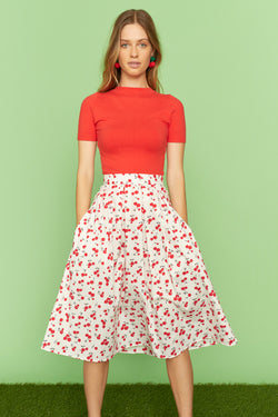 Cherry Hope Cotton Pleated Skirt