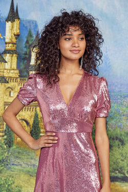Pink Sequin Paula Deep V Neck Dress