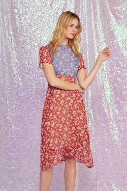 Combo Wildflower Lindy Silk Chiffon Dress W. Slip
