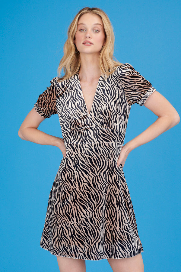 Velvet Zebra Mini Paula Deep V Neck Dress