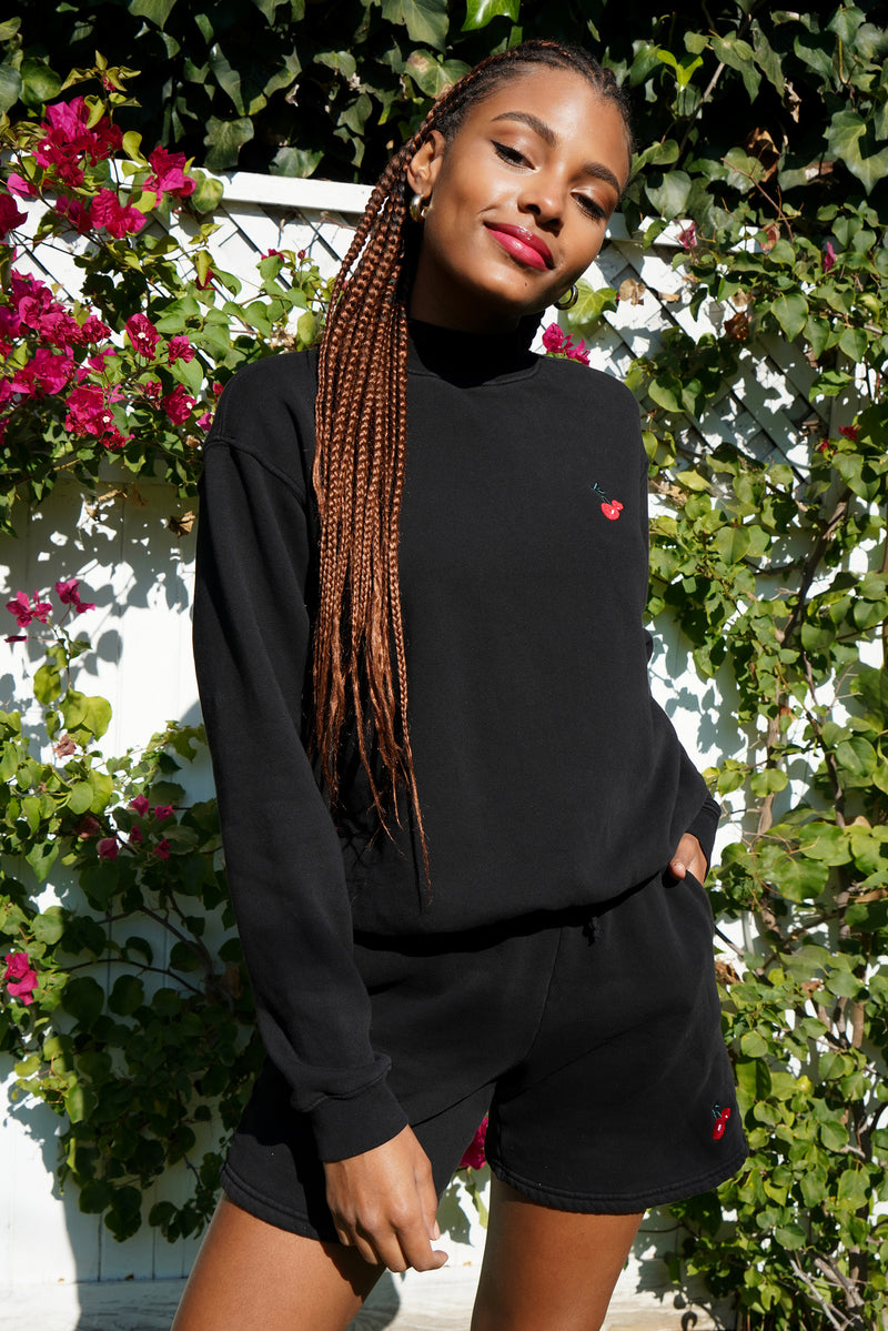 Solid Black w. Cherry Embroidery Mock Neck