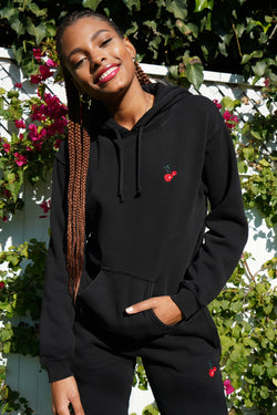 Solid Black w. Cherry Embroidery Hooded Sweatshirt