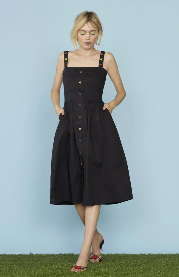 Black Laura Cotton Dress W. Fruit Embroidery