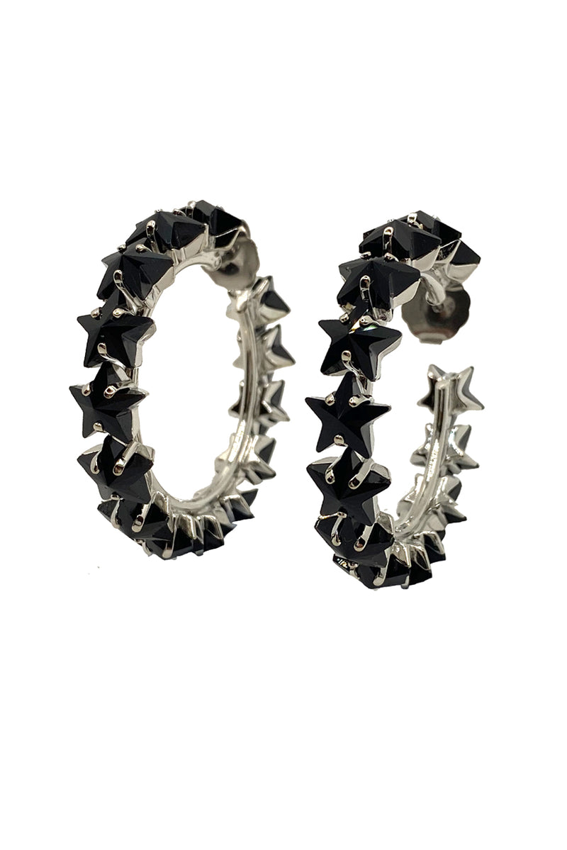 Small Black Star Crystal Hoop Earrings