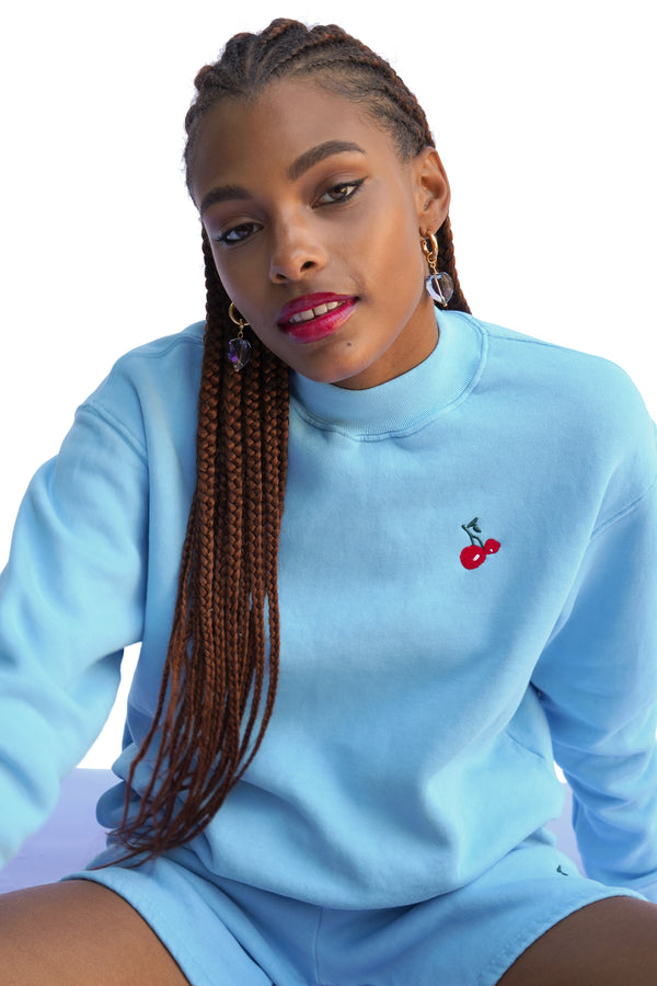 Solid Blue w. Cherry Embroidery Mock Neck