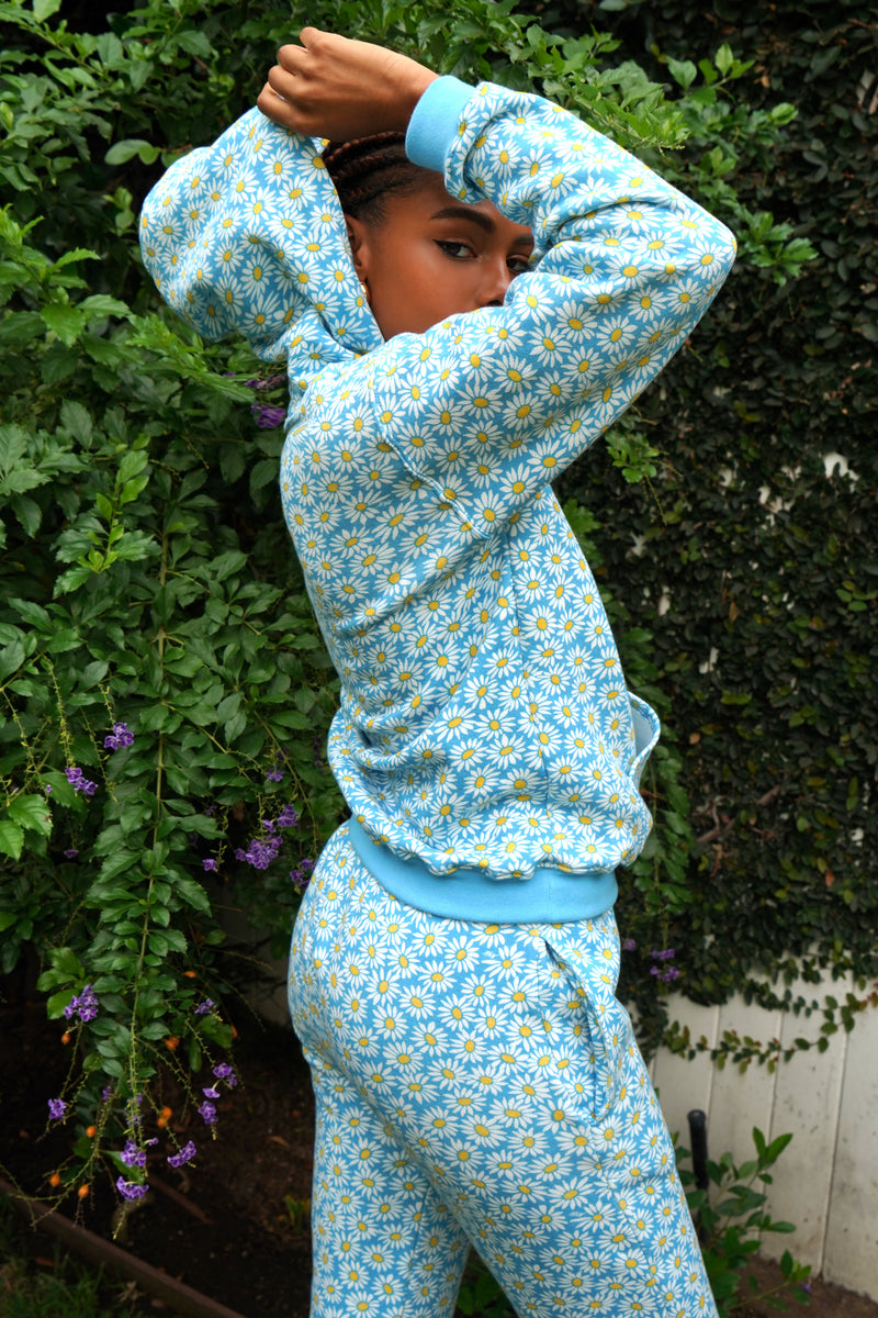 Blue Daisy Hooded Sweatshirt