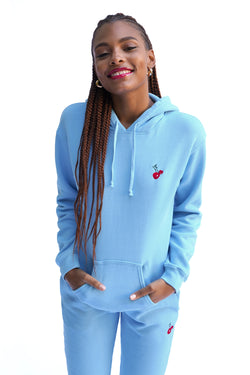 Solid Blue w. Cherry Embroidery Hooded Sweatshirt