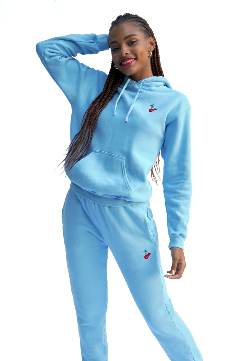 Solid Blue w. Cherry Embroidery Sweatpants