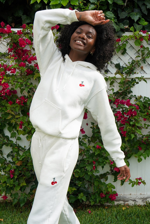 Solid White w. Cherry Embroidery Sweatpants