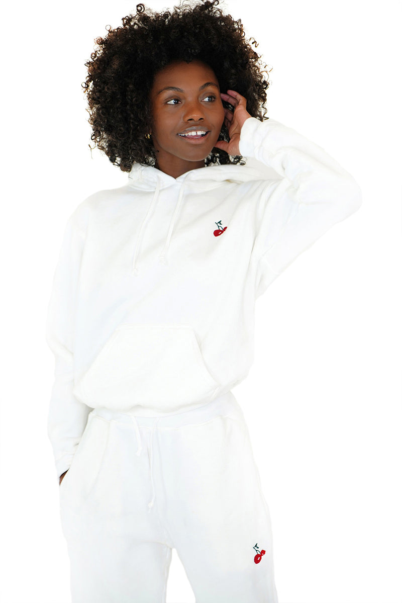 Solid White w. Cherry Embroidery Hooded Sweatshirt