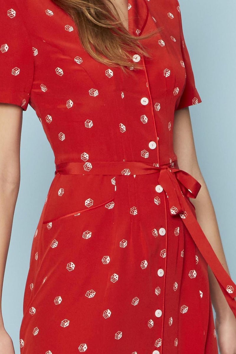 Red Dice Long Maria Dress