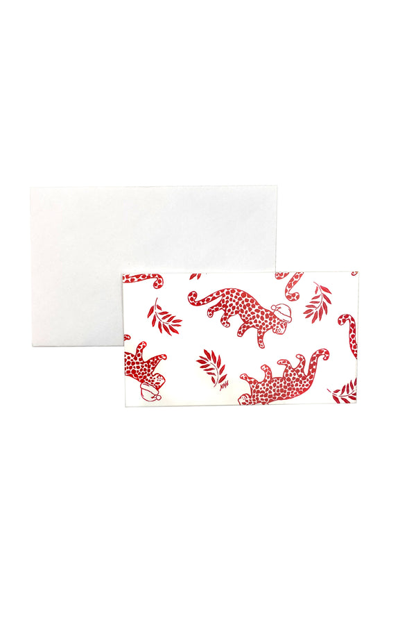 Red Leopard Holiday Gift Card Set